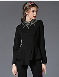 Autumn Women Clothing Plus Size Luxury Fashion Bead Diamond Falbala Asymmetric Slim Party/Work/Casual Blouse Shirt