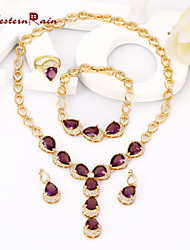 WesternRain Gold Women Plated Italian Purple Jewelry Set For Christmas Gift Crystal Necklace Bracelet Ring Earrings