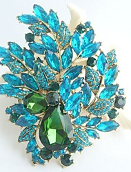 Gorgeous 4.33 Inch Gold-tone Turquoise Green Rhinestone Crystal Flower Brooch Art Deco Brooch Bouquet