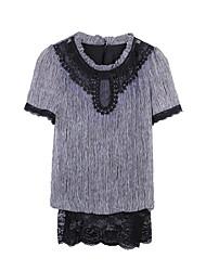 vestido das mulheres, spandex / poliéster acima de manga curta joelho