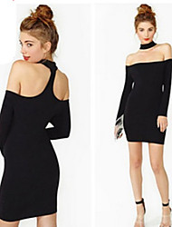 DUO.L Women's Solid Black Dresses , Sexy / Party Strapless Long Sleeve