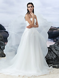 lanting mariée une ligne de robe de mariage train chapelle-bustier en organza