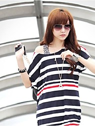 Women's Striped Blue T-shirt , Off Shoulder Short Sleeve