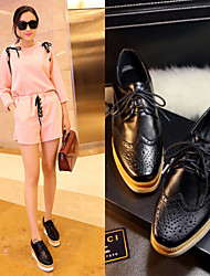 Calçados Femininos - Oxfords - Bico Fino - Anabela - Preto - Courino - Social