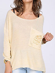 Women's Round Lace Sweaters , Knitwear/Lace Casual/Lace/Party/Work Long Sleeve HS