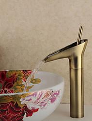 Contemporâneo Pia Válvula Cerâmica Single Handle Uma Abertura with Bronze Antigo Torneira pia do banheiro