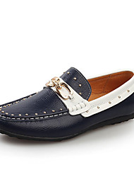 Men's Shoes Casual Leather Loafers White/Navy