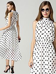 Vestidos ( Poliéster/Mezcla de Lana )- Casual Redondo Sin Mangas para Mujer