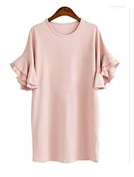 Women's Round Neck Ruffle Dress , Cotton Mini Short Sleeve