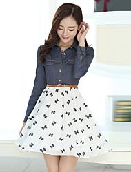 Women's Tailored Collar Flower Dresses , Denim/Polyester Print Long Sleeve Morefeel