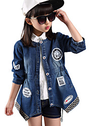 Girl's Labeling Waist Irregular Hem Denim Trench Coat , Winter/Fall Long Sleeve