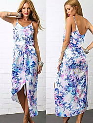 Women's Straps Dresses , Polyester Sexy/Beach/Print Sleeveless summer