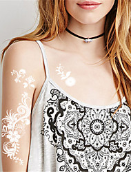 5Pcs Waterproof White Flower Pattern Temporary Body Art Tattoo Sticker