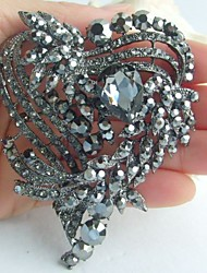 Wedding 3.15 Inch Vintage Gray Rhinestone Crystal Love Heart Brooch Bridal Bouquet
