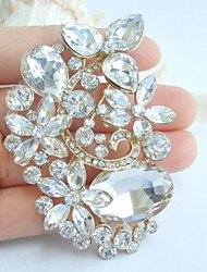 2.95 Inch Gold-tone Clear Rhinestone Crystal Flower Bridal Brooch Pendant Wedding Decorations