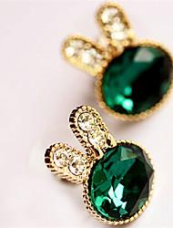 Korean Rabbit Emerald Earrings Vintage Gemstone & Crystal Stud Earrings Hot Sale 2015