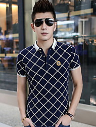 Men's Short Sleeve Polo , Cotton Casual/Work/Sport Print/Pure