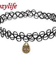 "Cozylife Girls Black Stretch Gothic Tattoo Henna Collar Choker Necklace Elastic with ""Made for You""Water Drop Pendant"