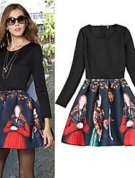 Vestidos ( Algodón Compuesto )- Casual Redondo Manga Larga para Mujer