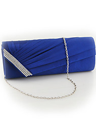 Satin Diamond Pleated Evening Clutch Bag Bridal Handbag Prom Purse