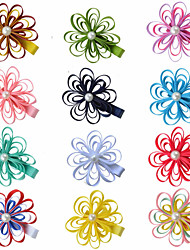 12 Pcs Loop Grosgrain Ribbon Flower Hair Clips Boutique Hairbows Allige Hair Clip Handwear Paryt Favors Hair Bows AC037