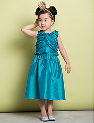 A-line Tea-length Flower Girl Dress - Taffeta Sleeveless Scoop with