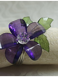 Acrylic Flower Decoration Napkin Ring, Acrylic, 1.77Inch, Set of 12