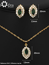 Fashion Party Accessories Green Cubic Zirconia 18K Gold Plated Jewelry Sets For Women