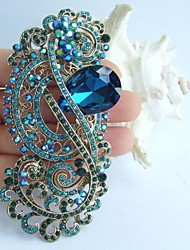 4.13 Inch Gold-tone Turquoise Rhinestone Crystal Flower Brooch Pendant Wedding Decorations