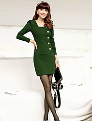 Women's Black/Green/Yellow Dress , Casual Long Sleeve
