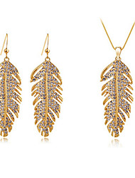 Huabi Women's Korean-style High Quality Simple Cute Mosaic Zircon Silver-plated Necklace and Earrings Set