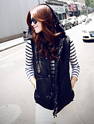 Women's Winter Warm Stand Sleeveless Hooded Down Jacket Vest