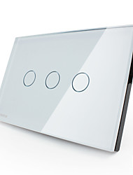Livolo US/UA Standard Touch Switch, Crystal Glass Panel,3 Gang 2Way, White/Black Color, VL-C303S-81/VL-C303S-82