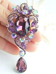 3.35 Inch Gold-tone Purple Rhinestone Crystal Drop Flower Brooch Pendant Art Decorations