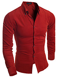 Mens Designer Casual  Slim Corduroy  Dress Shirt