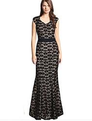 Women's Round Neck Dress , Lace Maxi Short Sleeve