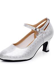 Chaussures de danse(Blanc Argent) -Personnalisables-Talon Personnalisé-Similicuir-Moderne Salon