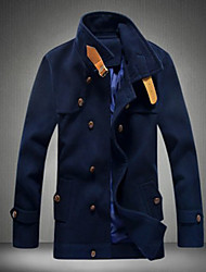 R-Warm Men's Stand Coats & Jackets , Cotton Blend Long Sleeve Casual Button All Seasons