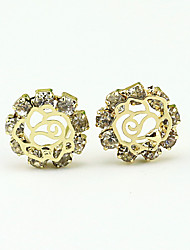 Earring Stud Earrings / Drop Earrings Jewelry Women Alloy / Rhinestone / Platinum Plated 1set Gold