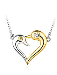 Silver Short Paragraph Clavicle Chain 18K Gold Plated Silver Necklace Love Jewelry A53