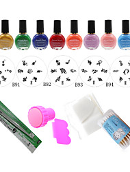 DIY Nail Polish Mould Tools,5PCS Nail Plates + 10 Colors Nail Stamp Polish +Stamper + Scraper