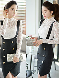 Women's Stand Lace Tops & Blouses , Elastic/Lace/Nylon Bodycon/Casual/Lace/Work Long Sleeve DABUWAWA