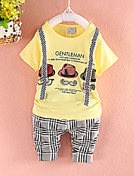 Boy's Cotton Blend Clothing Set , Summer ½ Length Sleeve,100% brand new and high quality,Summer Gifts