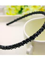 South Korea Imported Hairpin Rhinestone Beaded Head Hoop Decorations Double Row Crystal Black Hair Straps
