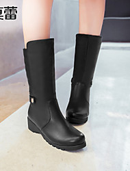 Women's Shoes Faux Leather Wedge Heel Snow Boots Boots Office & Career/Party & Evening/Casual Black/Red