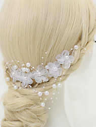 Women's Flower Girl's Alloy Imitation Pearl Chiffon Headpiece-Wedding Special Occasion Hair Combs 1 Piece