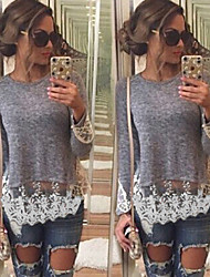 X.N.R Women's Patchwork / Lace Gray T-Shirts , Sexy / Casual / Work Round Long Sleeve
