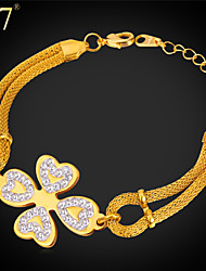 U7® Women's Four Leaf Clover Charm Bracelet for Her Stainless Steel/Gold Plated Mesh Chain Delicate Heart Bracelet