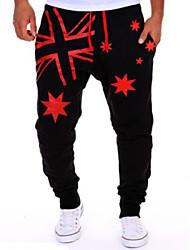 Pantalon de Sport Pour des hommes A Motifs Décontracté Mélange de Coton Noir