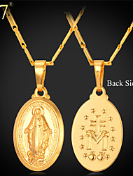 U7® Unisex Virgin Mary Necklace New Trendy Platinum/18K Real Gold Plated Colar Cross Pendant Necklace